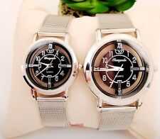 Fashion new Woman Girl Lady Black dail casual Steel wrist Watch Xmas gift USDK35