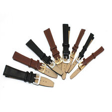 Watch Strap Genuine-Leather Replacement Repair Band Black/Brown Leather #JY