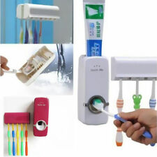 Wall Mount Toothpaste Dispenser Rack Stand +5 Auto Toothbrush Holder New Set