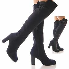 LADIES WOMENS BLACK BOOTS LYCRA STRETCH OVER THE KNEE HIGH BLOCK HEEL SHOES SIZE