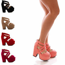 LADIES WOMENS STRAPPY PEEPTOE DEMI WEDGE PLATFORM SANDALS SHOES SIZE 3-8