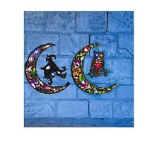 29cm LED lit wooden crescent moon witch or owl design halloween decoration