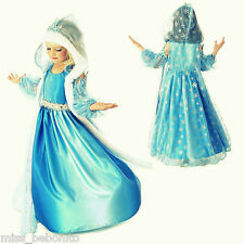 Frozen Elsa Girl Dress Hooded Cape Silver Snowflakes Disney Gown Cartoon Costume
