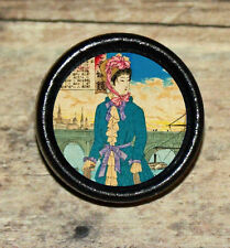 GEISHA in VICTORIAN FASHION dress Altered Art Tie Tack or Ring or Brooch pin