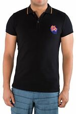 Just Cavalli Authentic Designer Men Polo Shirt T-Shirt Tee Black Cotton XXS L