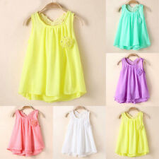 Toddler Baby Summer Party Sundress Kids Girls Chiffon Vest Tutu Dress Tops Soft