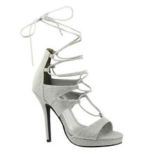 "Silver Women's Prom Wedding Bridesmaid Bridal Platform Lace Up 4"" Sandal Shoe"
