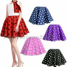 21'' POLKA DOT ROCK AND ROLL 50s SKIRT & SCARF FANCY DRESS COSTUME HEN PARTY