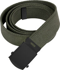 Olive Drab Military Cotton Web Belt with Black Buckle