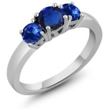 1.32 Ct Round Blue Simulated Sapphire Blue Sapphire 14K White Gold Ring