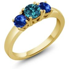 1.22 Ct Round London Blue Topaz Blue Sapphire 18K Yellow Gold Plated Silver Ring