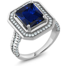 4.32 Ct Stunning Emerald Cut Blue Created Sapphire 925 Sterling Silver Ring