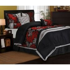 NEW Queen King Bed Red Black Gray Floral Geometric 7 pc Comforter Set Elegant