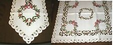 "Table Linens  Christmas Wreath Runner (69""x13"") or Topper (34"" square)  NEW"