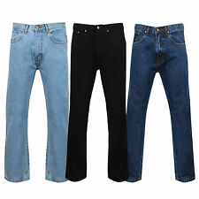 "Mens Regular Comfort Standard Fit Zip Fly Denim Jeans Size 28 to 60"" Inside Leg"