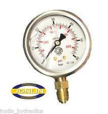 "2.5"" Hydraulic Pressure Gauge - ALL RANGES AVAILABLE, Metric & Imperial Readings"