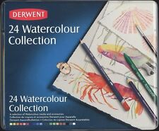 Derwent 24 Piece Watercolour Collection Pencils tin can NEW