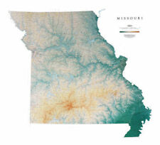 """Missouri Topographic Wall Map by Raven Maps, 42"""" x 46"""""""