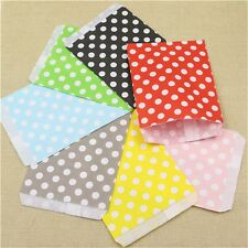 100pcs  Kraft Paper Gift Bags Party Favor Supply Polka Dot Treat Popcorn Bags