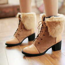 Womens Faux Suede Lace Up Blcok Heel Fur Cuffed Ankle Snow Boots Plus SIze Shoes