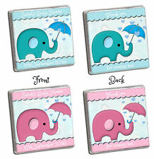 PERSONALISED CUTE ELEPHANT BABY SHOWER NEAPOLITAN CHOCOLATE FAVOURS. GIRL/BOY.