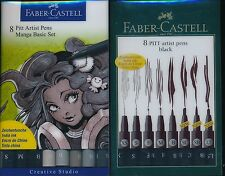 Faber-Castell 8 Pitt Artist Pens Black NEW Made in Germany Pigmented India Ink