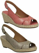 SALE PETRINA LEIGH LADIES CLARKS LEATHER SUEDE WEDGE PEEP TOE SLINGBACK SANDALS
