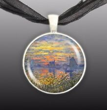 "Sailboats at Sunset Monet Art Painting 1"" Pendant Necklace in Silver Tone"
