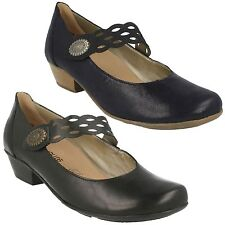 D7345 LADIES REMONTE RIPTAPE STRAP CUBAN HEEL LEATHER MARY JANE COURT SHOES