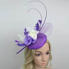 Elegant Feather Fascinator Flower Veil Top Hat Headband Cocktail Bridal