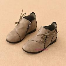 New Fall Winter Toddlers Kids Girls Retro Ankle Leather Boots Shoes Cool Zipper