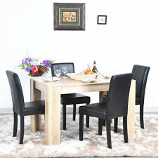 Modern Wood Dining Table and Chairs 4 Black Faux Leather Chairs Set Dining Room