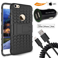 iPhone 6 6S Plus Hybrid Back Cover Heavy Duty Case+Lightning Cable+Car Charger