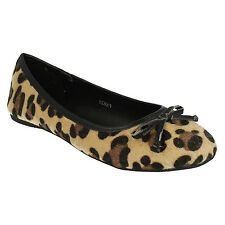 SALE LADIES SPOT ON SLIP ON PONY HAIR TAN LEOPARD BOW BALLERINA FLAT SHOES F8829