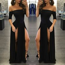 Women Sexy Off Shoulder Split Fancy Ball Gown Cocktail Evening Party Long Dress