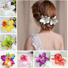 Women Girls Colorful Orchid Flower Hair Clip Barrette Bridal Wedding Accessories