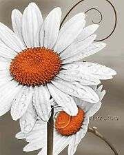 Daisy Left-Orange Home Decor Picture Wall Art Floral Bedroom-Living Room-Kids 1