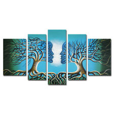 Hand Painted Canvas Oil Painting Home Decor Art Abstract Blue Tree Lover Framed