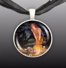 "Midsummer Eve Hughes Fairy Art Painting 1"" Pendant Necklace in Silver Tone"