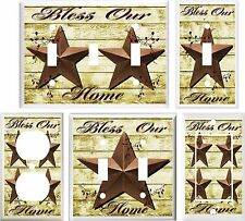 BARN STAR BLESS OUR HOME COUNTRY DECOR LIGHT SWITCH COVER PLATE OR OUTLET V892