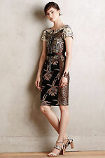 Anthropologie Embroidered Brocade Dress Sz 0, Slim Sheath, Beguile By Byron Lars