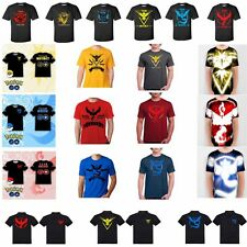 Men T-shirts Pokemon Go Pokeball Team Valor Mystic Instinct Anime Graphic  Tee