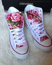 Custom Handmade Pink Floral Fabric Converse Shoes