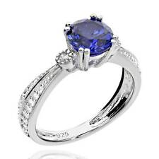 Sterling Silver 1.25 Ct Round Created Blue Sapphire & Cubic Zirconia Ring