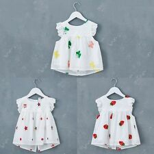 Child Baby Girls White Flower Dress Embroidery Flower Short Dress Clothes