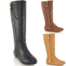 NEW WOMENS LADIES FLAT HEEL SYNTHETIC LEATHER GOLD ZIP CALF KNEE HIGH BOOTS SIZE