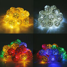 Room 2.2M 20 Rattan Ball LED Light String Fairy Lamp Wedding Party Xmas Decor