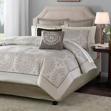 NEW Queen Cal King Bed 12 pc Neutral Taupe Ivory Medallion Comforter Sheets Set