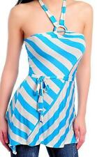 SEXY BLUE WHITE STRIPE O-RING STRETCHY TUNIC TIE WAIST CASUAL HALTER TOP NEW HOT