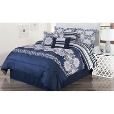 NEW Twin Full Queen King Bed Navy Blue White Floral Striped 7 pc Comforter Set